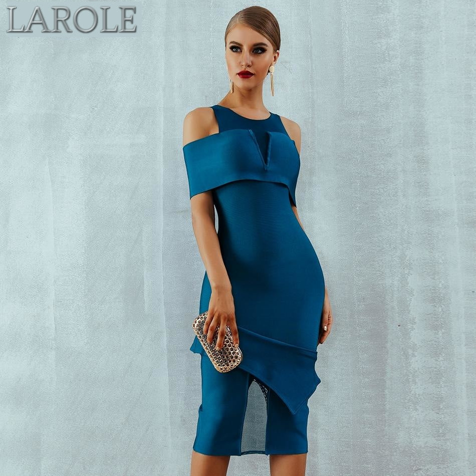Off Shoulder Hollow Out  Blue Bandage Midi Bodycon Evening Party Dress