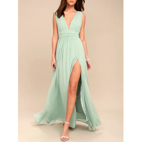 Bohemia V-neck Sleeveless High  Split Maxi Dress - More Colors Available