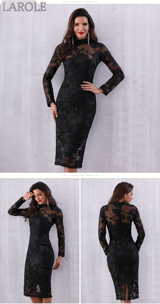 Sexy Long Sleeve Hollow Out Midi Lace Club Dress - Available in more colors