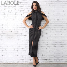 Load image into Gallery viewer, Sleeveless Beaded Turtleneck Sexy Back Splitting Midi Dress - Available in more colors