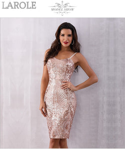 Midi Sequin Backless Deep V Neck Spaghetti Strap Club Dresses