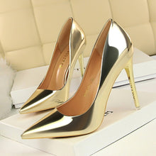 Load image into Gallery viewer, Patent Leather Thin Heels High Heels  Pointed Toe