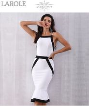 Load image into Gallery viewer, White and Black Colorblock Sexy Spaghetti Strap Mermaid Midi Evening Party Dresses