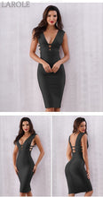 Load image into Gallery viewer, Black Tank Sexy Deep V-Neck Sleeveless Bodycon Club Celebrity Party Dresses - More Colors Option Available!