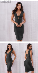 Black Tank Sexy Deep V-Neck Sleeveless Bodycon Club Celebrity Party Dresses - More Colors Option Available!