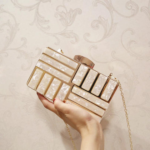 Luxury  Acrylic Decoration Gold Clutches - Available in more colors