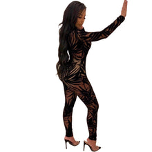 Load image into Gallery viewer, Sheer Mesh See through Bamboo Leaves Printted  Overalls Jumpsuit