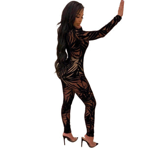 Sheer Mesh See through Bamboo Leaves Printted  Overalls Jumpsuit