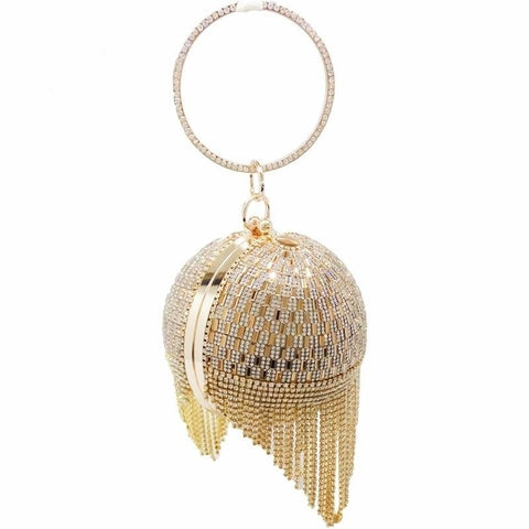 Golden Diamond Tassel Women Party Metal Crystal Clutch Purse- Available in more colors