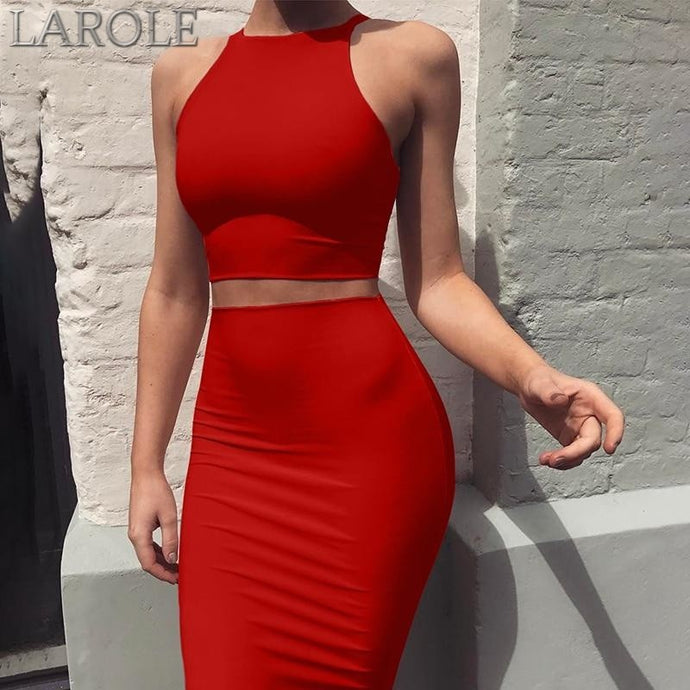 Two Piece set crop top + sheath set Mini  skirt