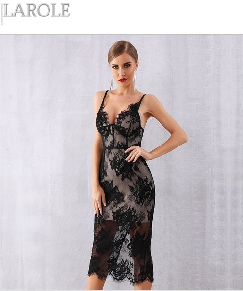 Sexy Black Lace V Neck Spaghetti Strap Evening Party Dress = More Colors Are Available