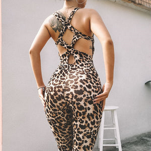 Hollow Cross Backless Leopard  Print  Elasticity Jumpsuit