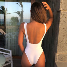 Load image into Gallery viewer, Sexy Black  one piece women  push up V neck bathing suit and bodysuit