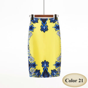 High Waist Vintage Floral Print Midi Pencil Skirt - More Colors Are Available