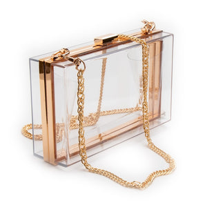 Women Acrylic Clear Transparent Gold Clutch Purse