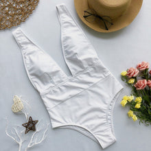 Load image into Gallery viewer, Sexy White one piece women  push up V neck bathing suit and bodysuit