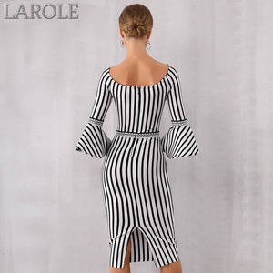 Sexy Flare Sleeve Black & White Dress. Elegant Celebrity Evening Party Dress