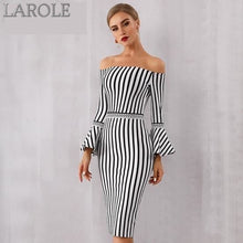 Load image into Gallery viewer, Sexy Flare Sleeve Black & White Dress. Elegant Celebrity Evening Party Dress