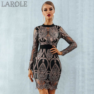 Long Sleeve Backless Sexy Mesh Hollow Out Luxury Sequin Party Dress- Available in other colors