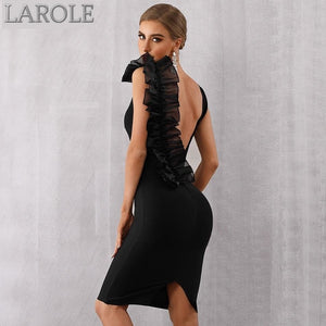 Black V-Neck Ruffles Mesh Backless Evening Party Dress