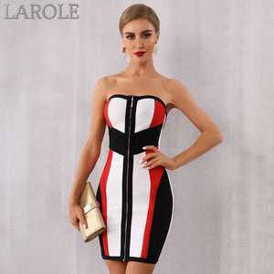 Strapless Colorblock Mini Evening Party Dress