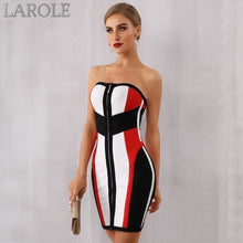 Load image into Gallery viewer, Strapless Colorblock Mini Evening Party Dress