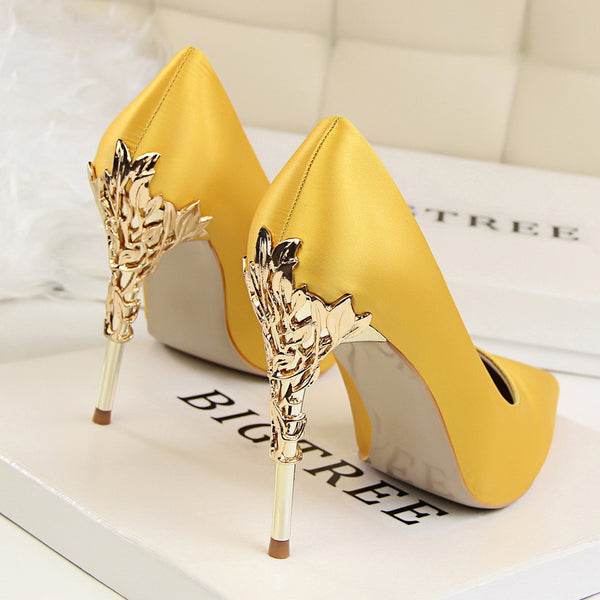 Elegant Metal Carved Silk High Heels - More Colors available