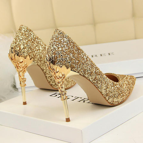 Thin Heels Pointed Toe Metal Decoration Sexy Gold Bling Bridal Wedding High Heels