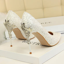 Load image into Gallery viewer, Thin Heels Pointed Toe Metal Decoration Sexy Gold Bling Bridal Wedding High Heels