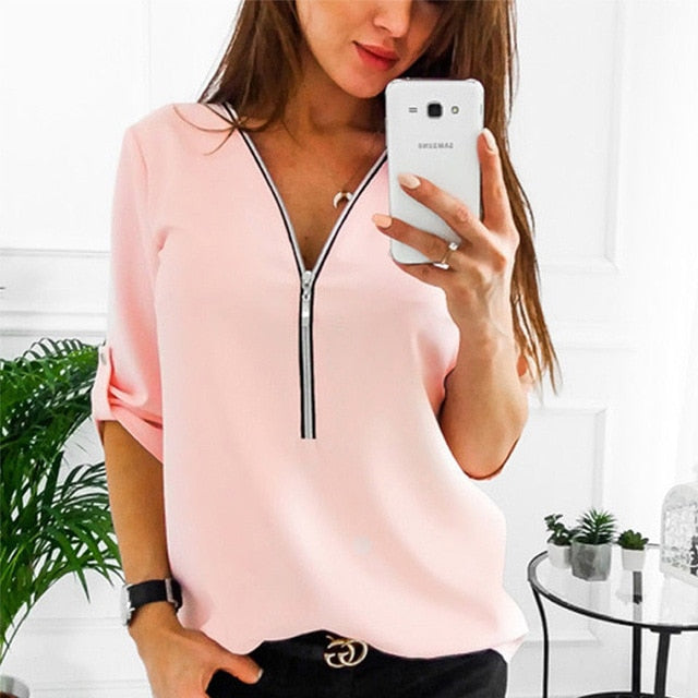 Zipper Short Sleeve Women Shirts Sexy V Neck Solid Womens Tops And Blouses