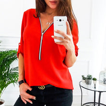 Load image into Gallery viewer, Zipper Short Sleeve Women Shirts Sexy V Neck Solid Womens Tops And Blouses