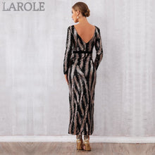 Load image into Gallery viewer, Black Goal Sequined  Backless Long Sleeve Maxi  Dresses with Split