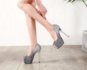Platform Gold  Silver Peep Toe Pumps Women Shoes