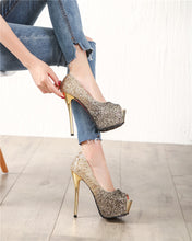 Load image into Gallery viewer, Platform Gold  Silver Peep Toe Pumps Women Shoes