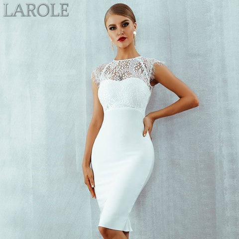 White Lace Short Sleeve Hollow Out Club Dress Evening Party Dress- More Colors are available!