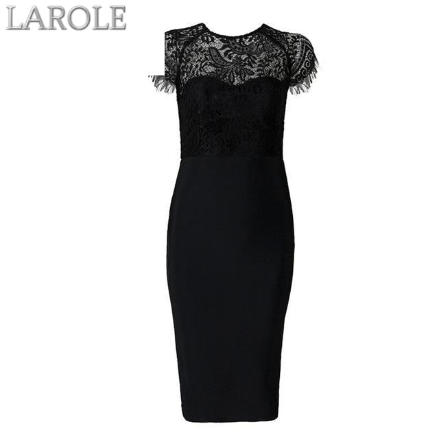 Black Lace Short Sleeve Hollow Out Club Dress Evening Party Dress- More Colors are available!