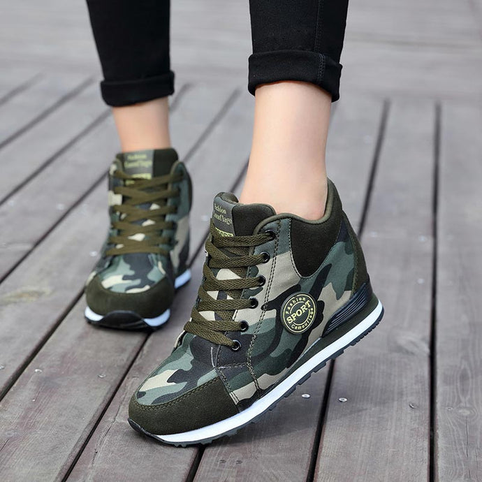 Women sneakers canvas camouflage platform sneakers