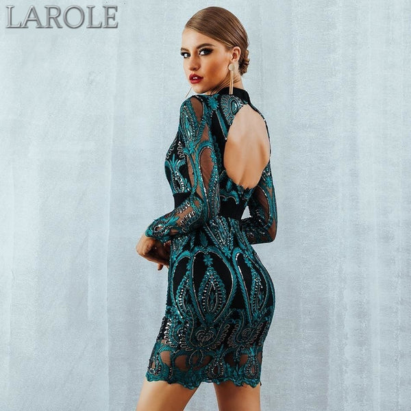 Luxurious Long Sleeve Backless Celebrity Party Sequin Green Dress - Available in multiple Color