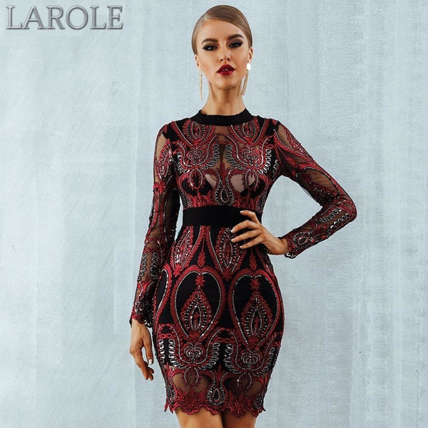 Red Luxurious Long Sleeve Backless Celebrity Party Sequin Dress - Available in multiple Color
