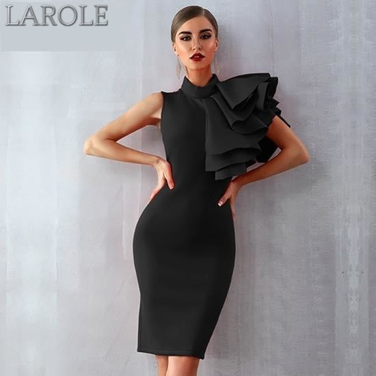 Black Sleeveless Rufflesn Midi Bodycon For Cocktail parties - More Colors Available