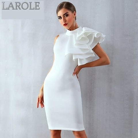 White Sleeveless Rufflesn Midi Bodycon For Cocktail parties - More Colors Available