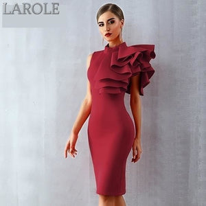 Sleeveless Ruffle Midi Bodycon For Cocktail parties - More Colors Available
