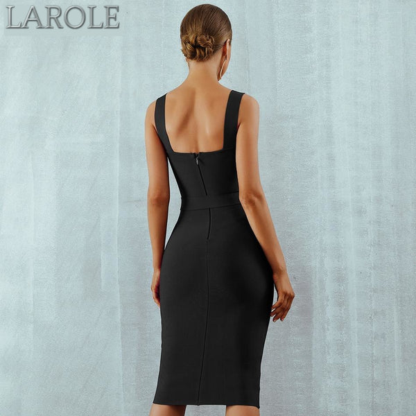 Black Belted Midi Bodycon Bandage Dress