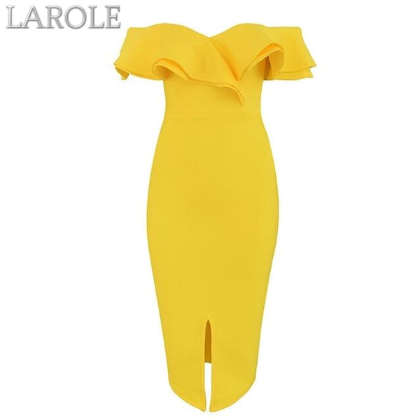 Yellow  Off the Shoulder Midi Dresses - More Colors Option Available!