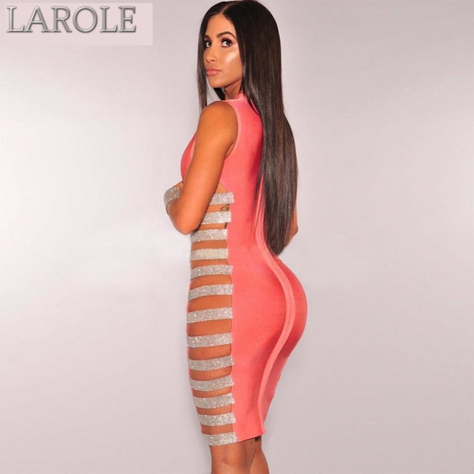Hollow Out Side Striped Beads  Evening Pink Dresses- Available in More Colors