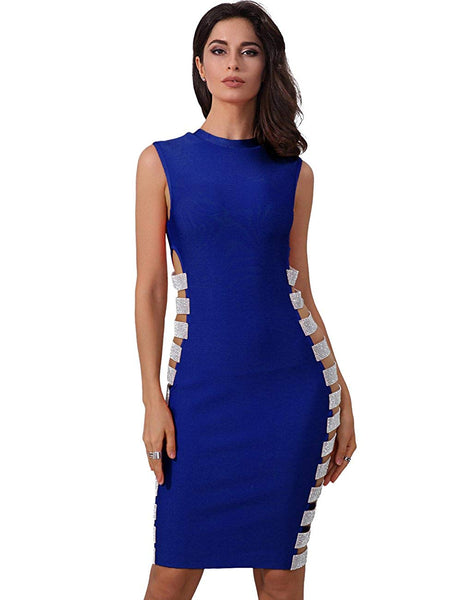 Hollow Out Side Striped Beads  Evening Blue Dresses- Available in More Colors