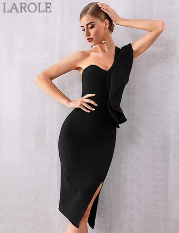 Sexy One Shoulder Ruffles Bodycon Black Cocktail Dresses  - Available in multiple colors