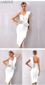 Sexy One Shoulder Ruffles  White Cocktail Bandage Dresses  - Available in more colors