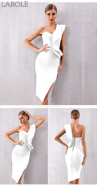 Sexy One Shoulder Ruffles  Red Cocktail Bandage Dresses  - Available in more colors