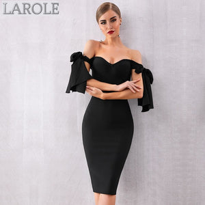 Elegant Off Shoulder Black Cocktail Black Bandage Dress